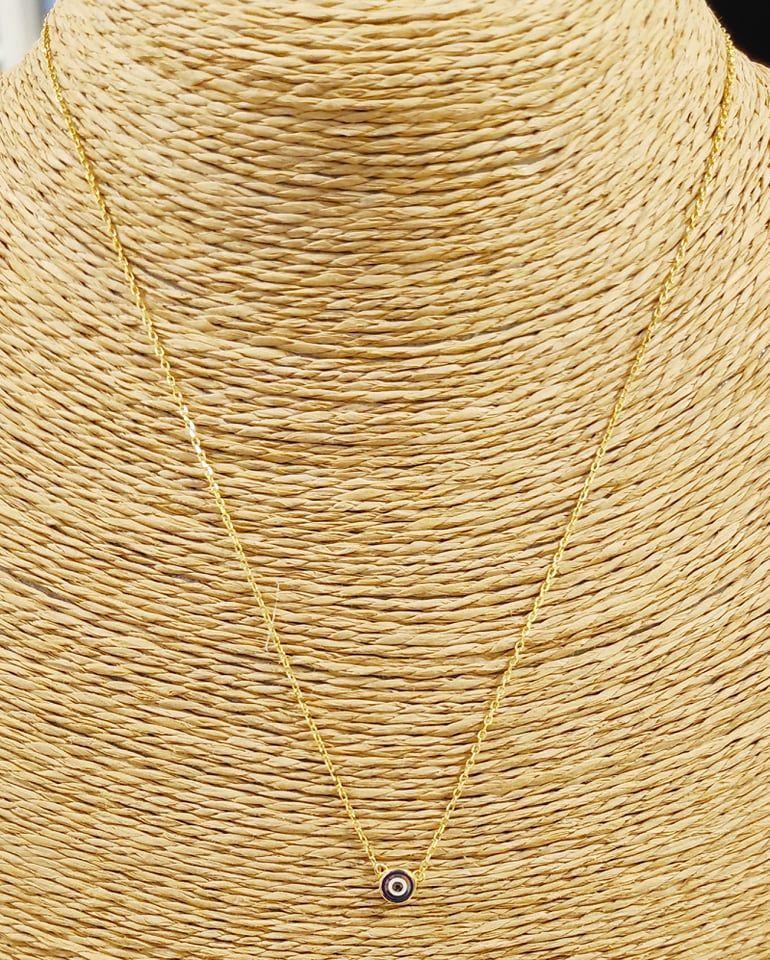 Κολιέ μάτι - ασήμι 925 - επιχρυσωμένο