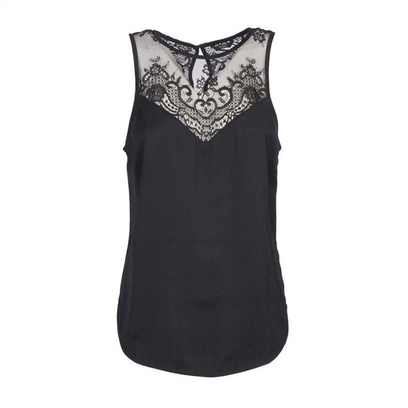 GUESS μπλούζα με δαντέλα μαύρη