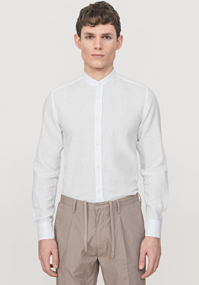 ANTONY MORATO slim fit mandarin collar linen shirt white