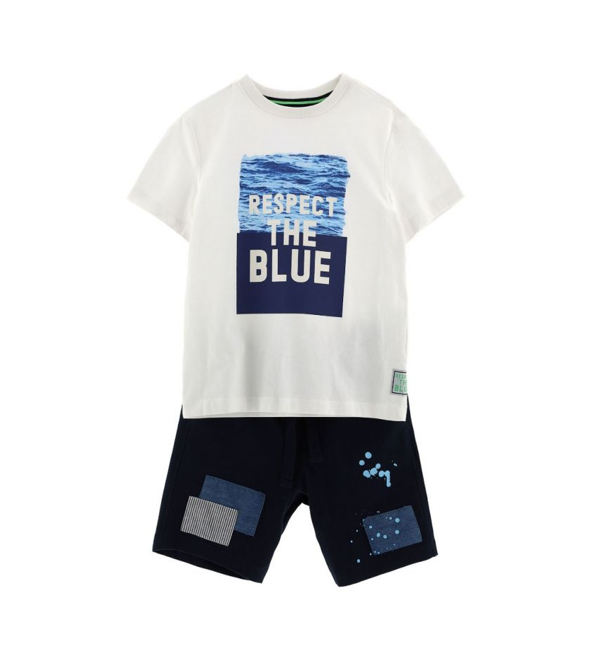 Original Marines t-shirt & shorts set respect the blue - white
