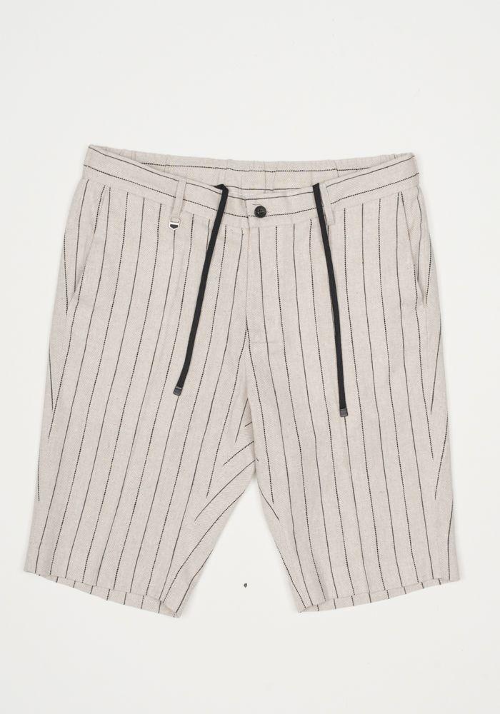 Antony Morato beige linen short with stripes