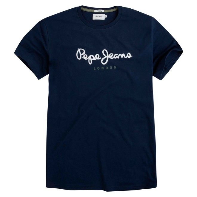 """Pepe jeans """"Eggo""""  μπλούζα ανδρική με logo - χρώμα navy"""