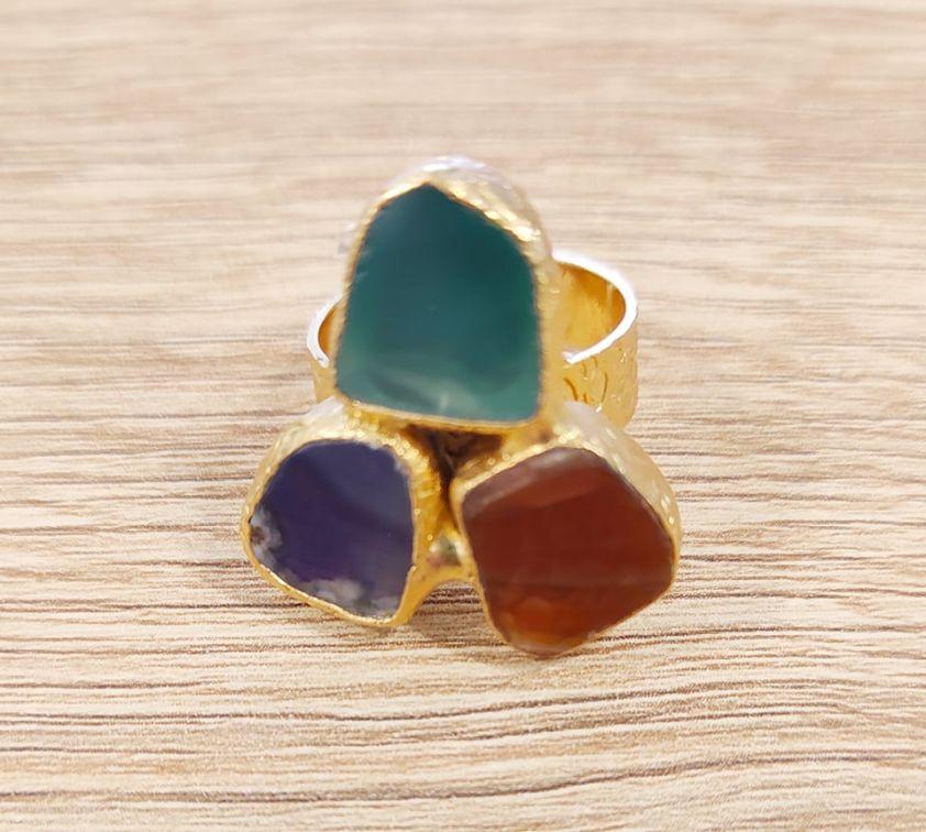 δαχτυλίδι με ημιπολύτιμες πέτρες 3clrs1