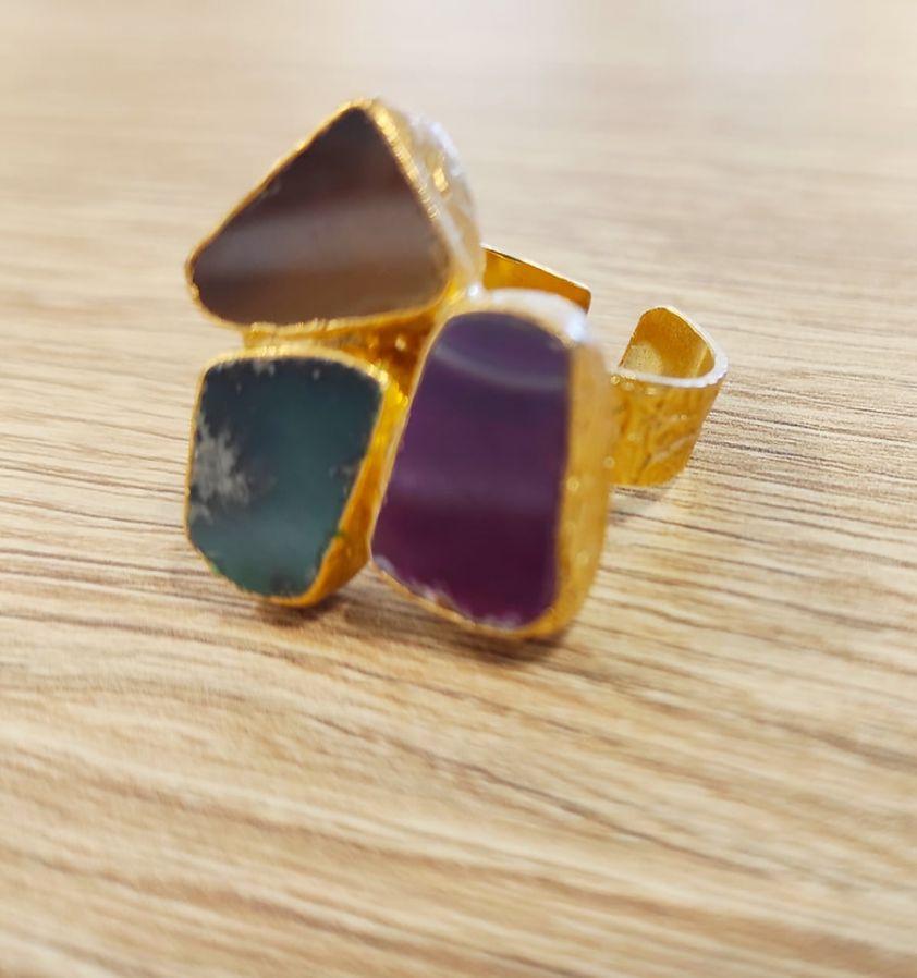 Δαχτυλίδι με ημιπολύτιμες πέτρες 3clrs2