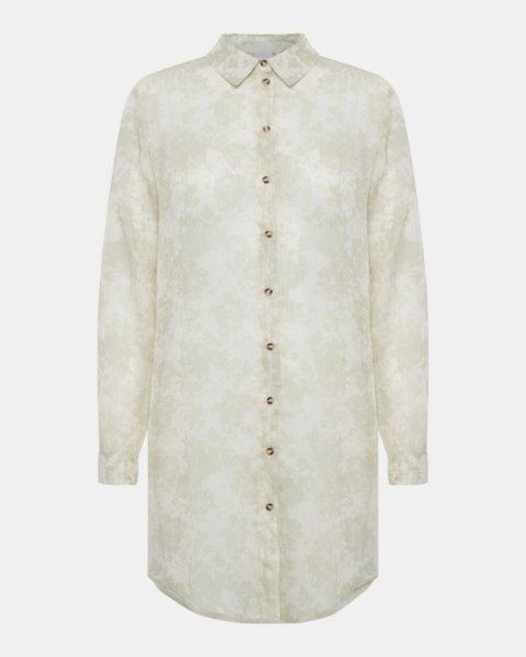 ICHI sama long sleeved shirt green & white